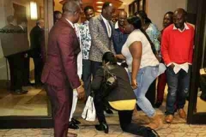 Lady Kneels Down To Greet Apostle Suleman As He Steps Out In Style In USA